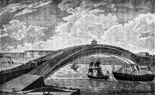 Проектъ деревяннаго моста черезъ Неву, сдѣланный И. П. Кулибинымъ. Со стариннаго рисунка