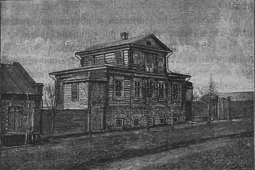 Домъ на Нижнелазаретной (теперь Семеновской) улицѣ, въ которомъ жилъ Ѳ. А. Семеновъ, въ Курскѣ