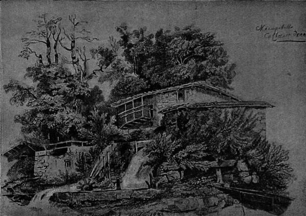 Ландшафтъ, нарисованный самимъ Глинкой.