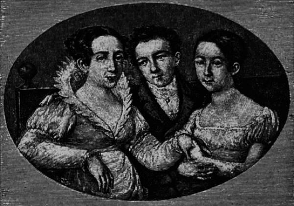 Портретъ Глинки-отрока съ матерью и сестрою.