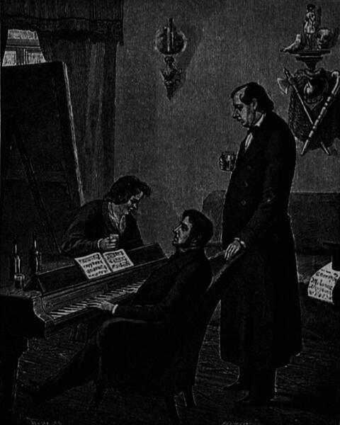 К. П. Брюлловъ, М. И. Глинка и Н. В. Кукольникъ (Въ 1842 г.). Рисунокъ съ натуры П. А. Каратыгина.