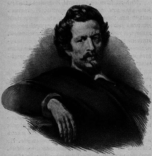 Карлъ Павловичъ Брюлловъ. Съ портрета, рисованнаго имъ самимъ.