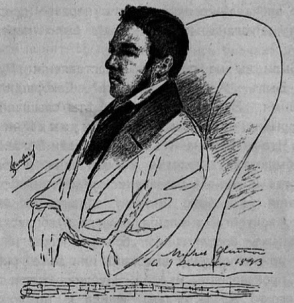 Михаилъ Ивановичъ Глинка. (Въ 1843 г.).