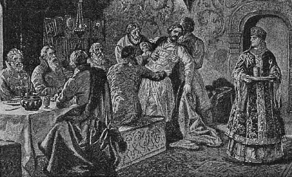 Князь М. В. Скопинъ–Шуйскій на пиру у князя Воротынскаго. Съ карт. (изъ журн. «Нивы»).
