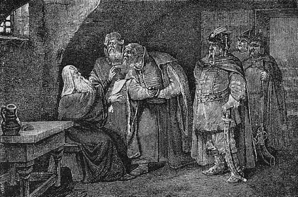 Патріархъ Гермогенъ въ подземельѣ Чудова монастыря.
