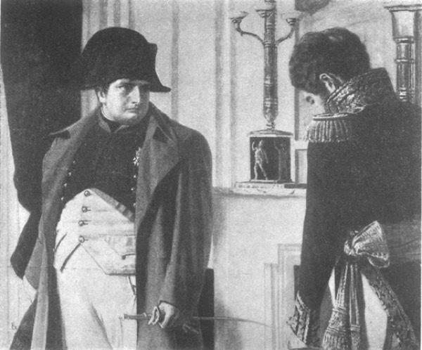 "Наполеонъ и маршалъ Лористонъ. ""Миръ — во что бы то ни стало!"" Съ картины В. В. Верещагина."