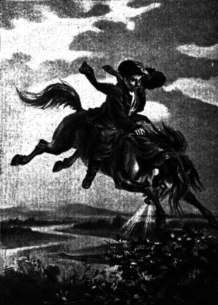 Конь, какъ огонь, взвился подъ нимъ… Рисунокъ И. Прянишникова.