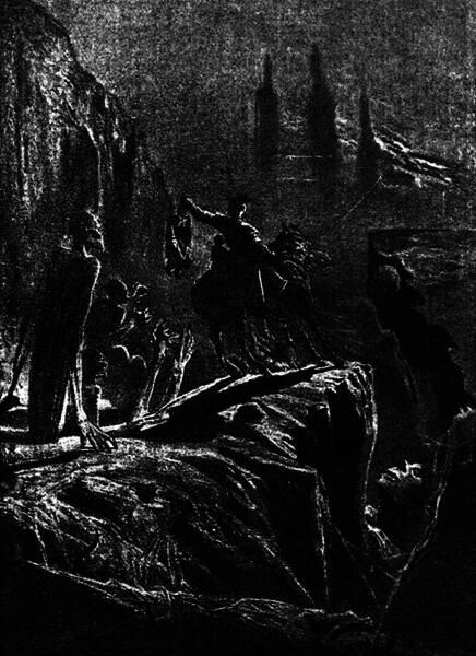 Ухватилъ всадникъ страшной рукой колдуна и поднялъ его на воздухъ. Рисунокъ И. Крамскаго.
