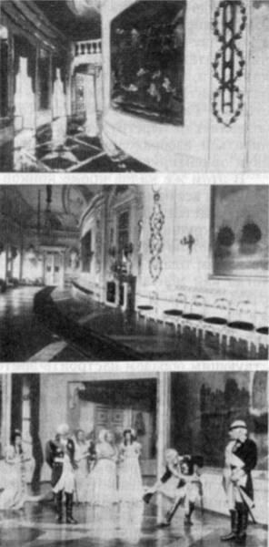 Сверху вниз: эскиз декорации «Чесменская галерея», реальный интерьер  Чесменской галереи Гатчинского дворца, кадр из фильма «Суворов»