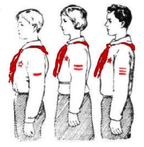 Знаки различия для членов и начальников штабов дружин, отрядов и вожатых звеньев.